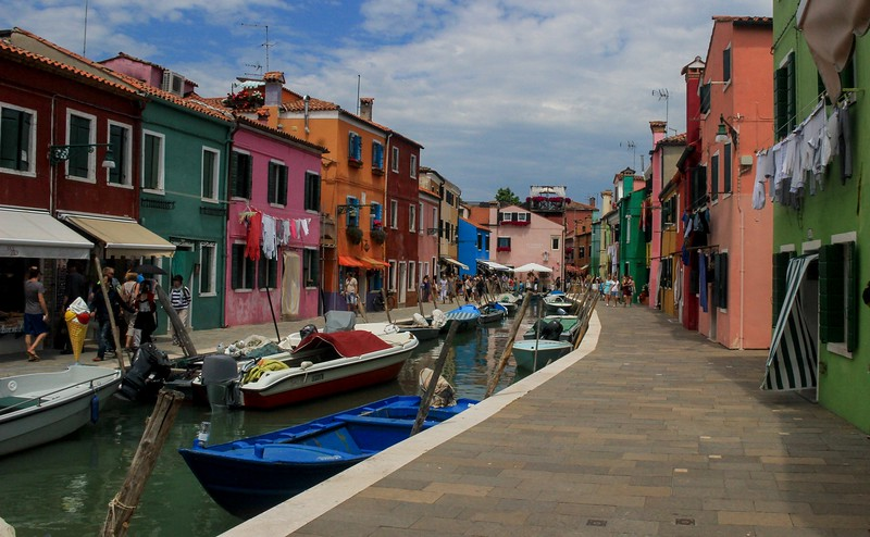 Burano is an island about 40 minutes from Venice by water taxi.