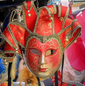 Handmade carnival mask, a favorite among vendors in Burano and Venice