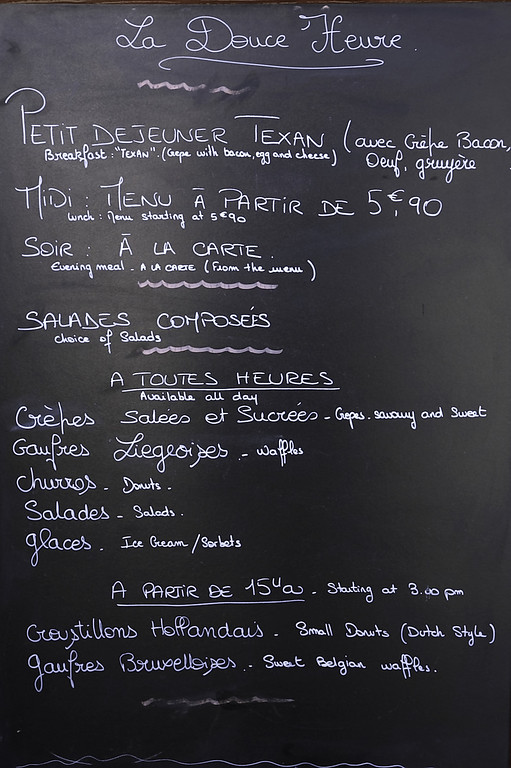 As I live in Texas, I had to snap a shot of this breakfast blackboard menu in Beaune.