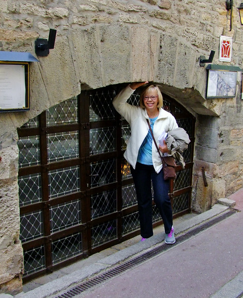 This very unusual entrance to our hotel; previously the wine cellar of the abbey.