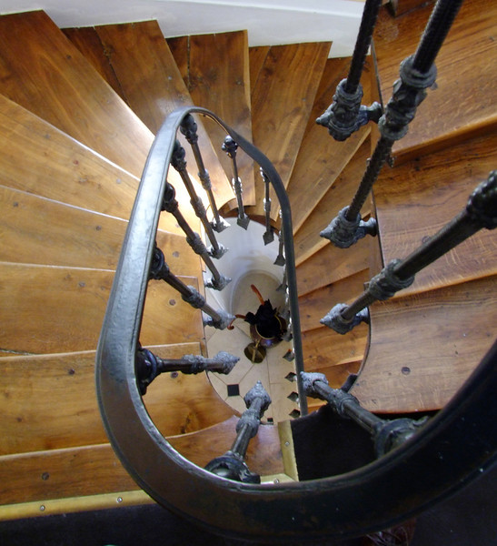 The spiral staircase at our B&B.
