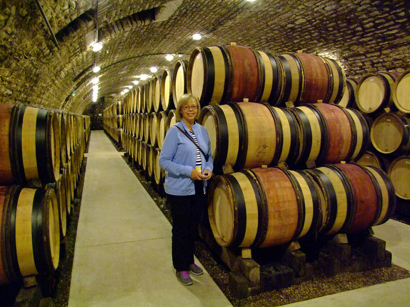 In a wine cellar during our Burgundy wine tour.  These were all full and aging.