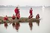 Young monks near the U Bein wooden bridge.