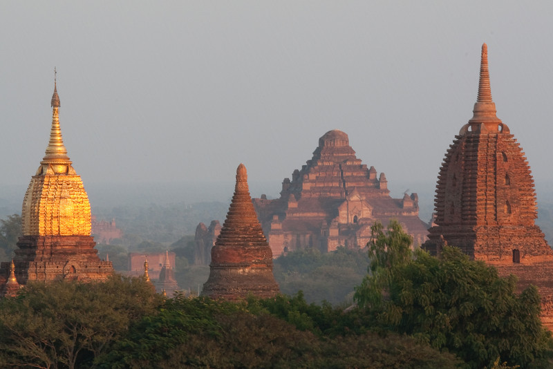 various temples with Dhammayangyi Pahto in background, Bagan