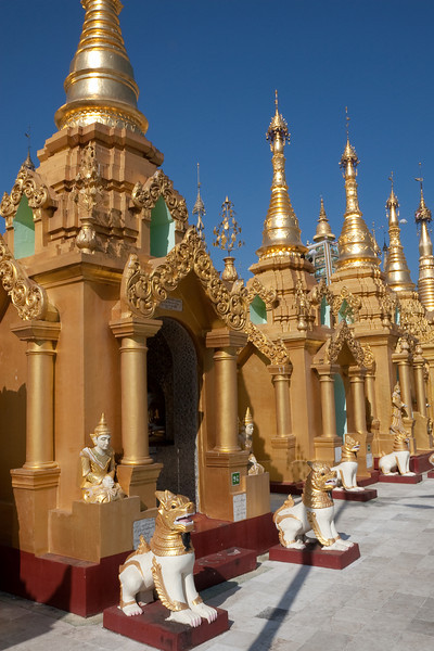 surrounding shrines at Shwedagon Paya area, Yangon