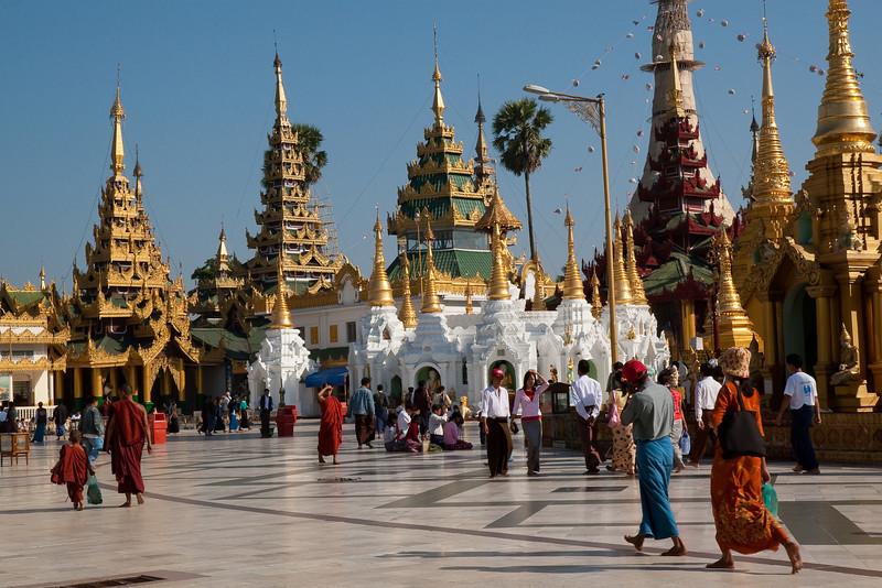 surrounding temples at Shwedagon Paya area, Yangon