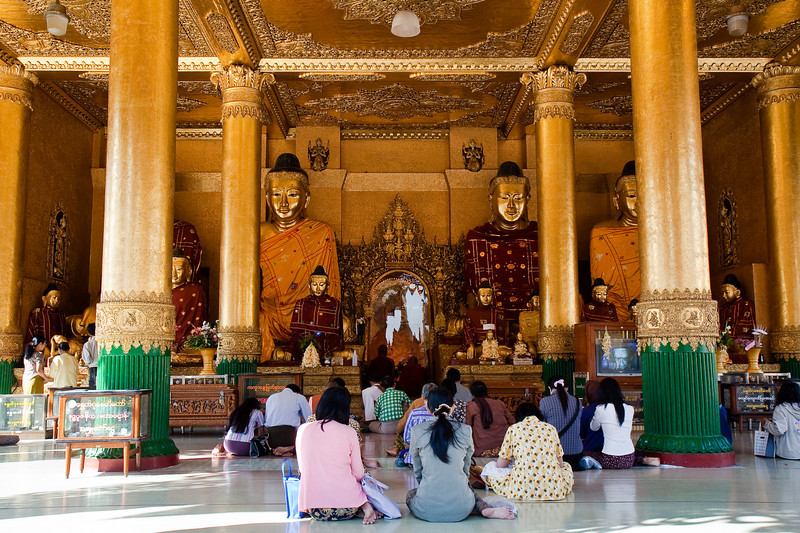 surrounding temple at Shwedagon Paya area, Yangon