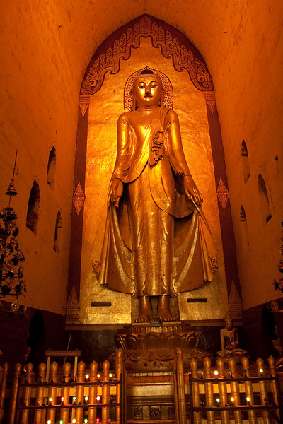 One of the four huge Buddha statues inside Ananda Pahto, Bagan
