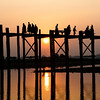 Sunset behind U Bein Bridge, Amarapura