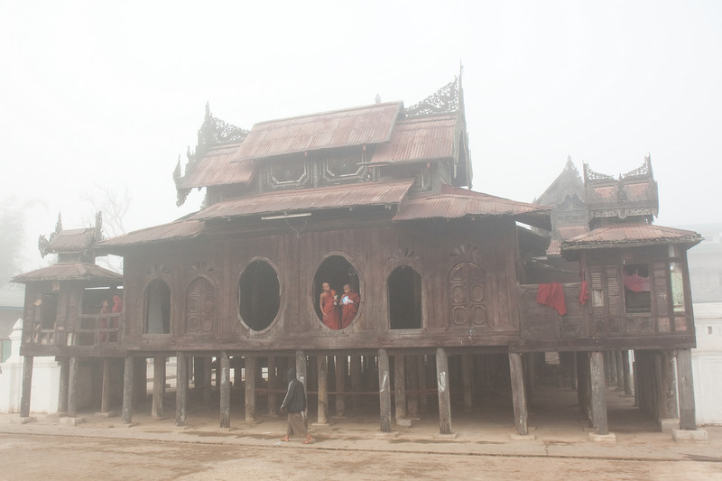 Shwe Yaunghwe Kyaung covered in early morning fog, Nyaungshwe