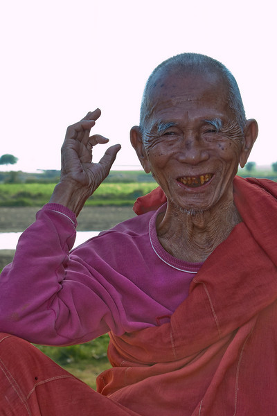 Monk at U Bein Bridge, Amarapura