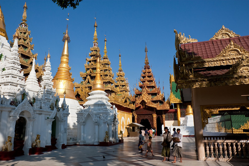 surrounding temples at Shwedagon Paya area, Yangon