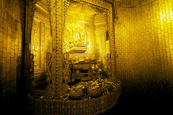 Interior of Botataung Paya, Rangoon -  this shrine is where the hairs from the head of Buddha are stored.
