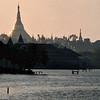 Shwedagon Pagoda across Kandawgyi Lake, Rangoon.