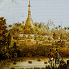 British officers view the Shwedagon in an 1825 lithograph.