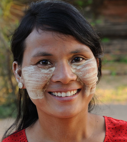 At Shwe San Daw Pagoda.<br /> Thanaka face paste has been used in Myanmar for more than 2000 years.