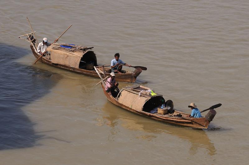 Boats on the Irrawaddy, Bagan, Burma.