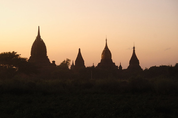 Dusk in Bagan, Burma, viewed from Shwe San Daw Pagoda.