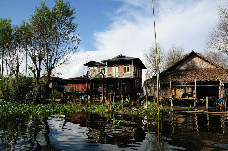 Village on south-west shore of Lake Inle, Burma.