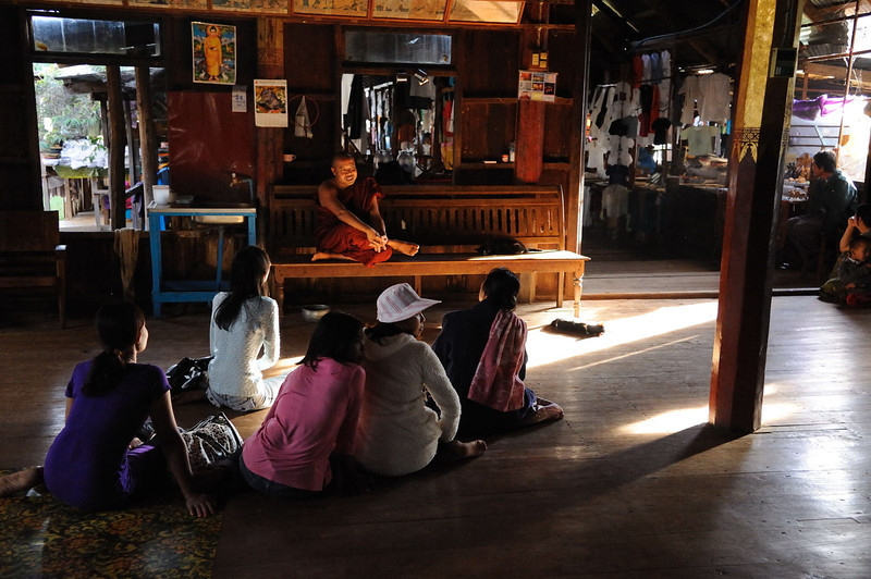 Learning from the master at Ngaphechaung Buddhist Monastery, Lake Inle.