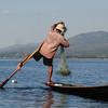 Leg-rower fisherman on Lake Inle, Burma.