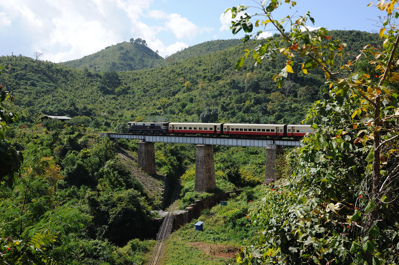 Built by the British in colonial times, the track spirals to climb to a height near Heho, Burma.