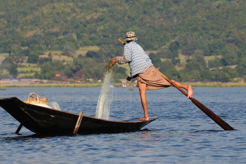 Leg-rower fisherman on Lake Inle