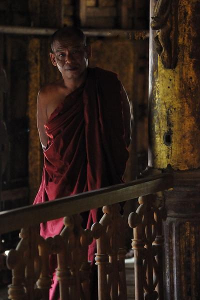 Monk inside Shwe Nandaw Kyaung