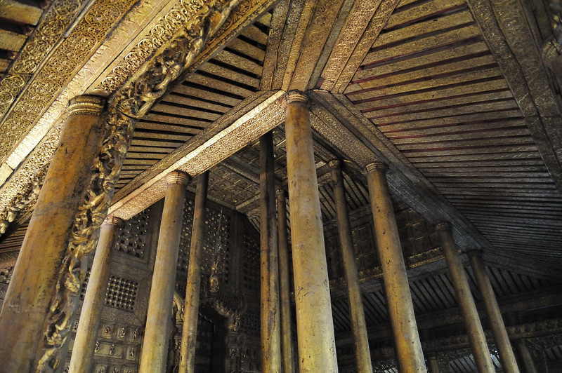 Gilded interior of Shwe Nandaw Kyaung