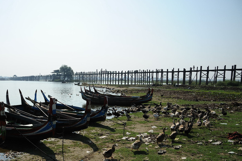 U Bein's Bridge.  Built of teak more than 200 years ago, Mandalay, Burma.
