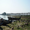 U Bein's Bridge.  Built of teak more than 200 years ago, Mandalay, Burma.