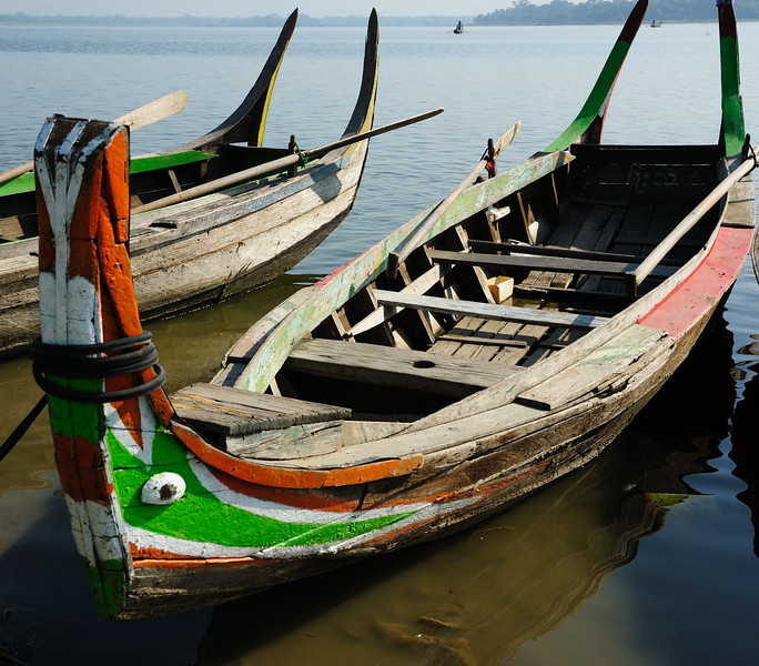 Boats on Thaungthaman Lake in Amarapura by U Bein's Bridge
