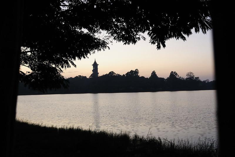 View across Kandawgyi Lake to the botanical gardens
