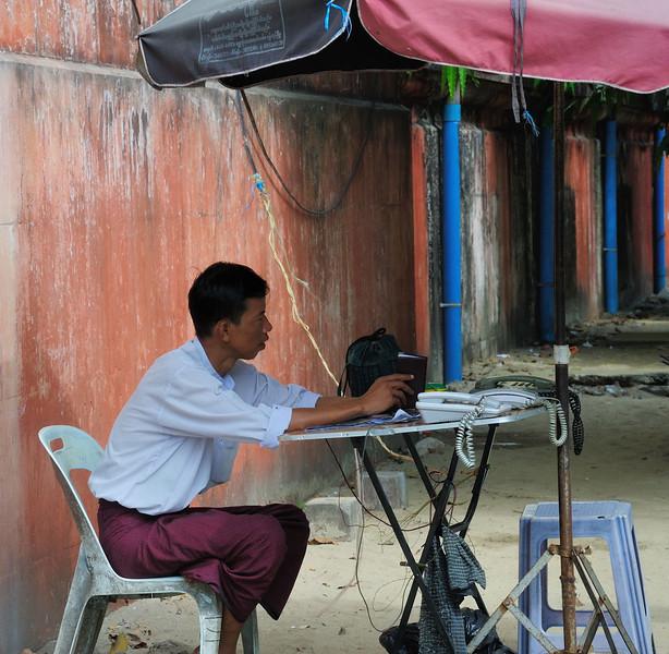 In Pansodan Street near the ferry terminal in Rangoon