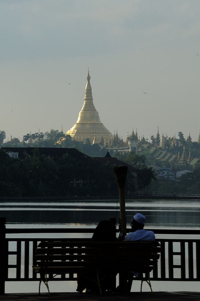 Looking across Kandawgyi Lake to the Shwedagon Pagoda