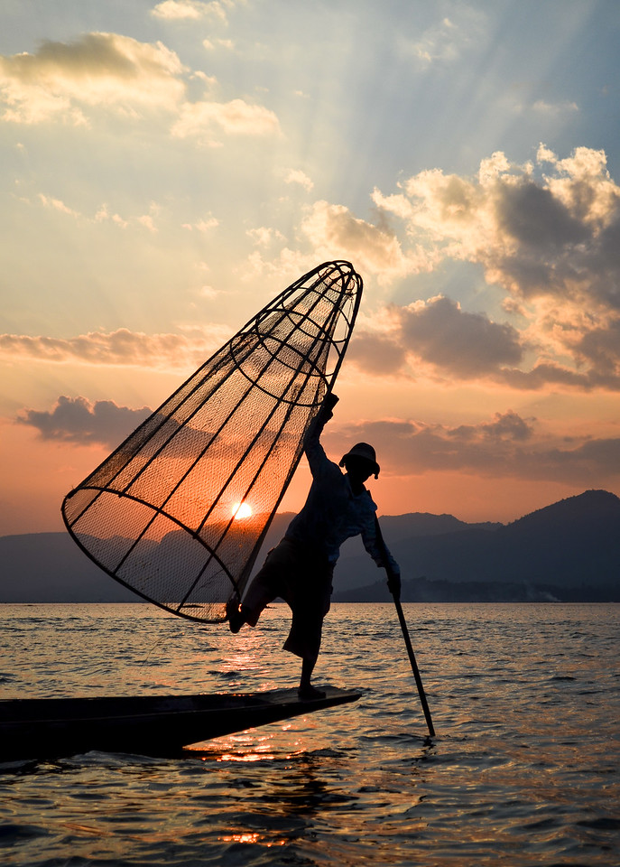 Fisherman at sunet
