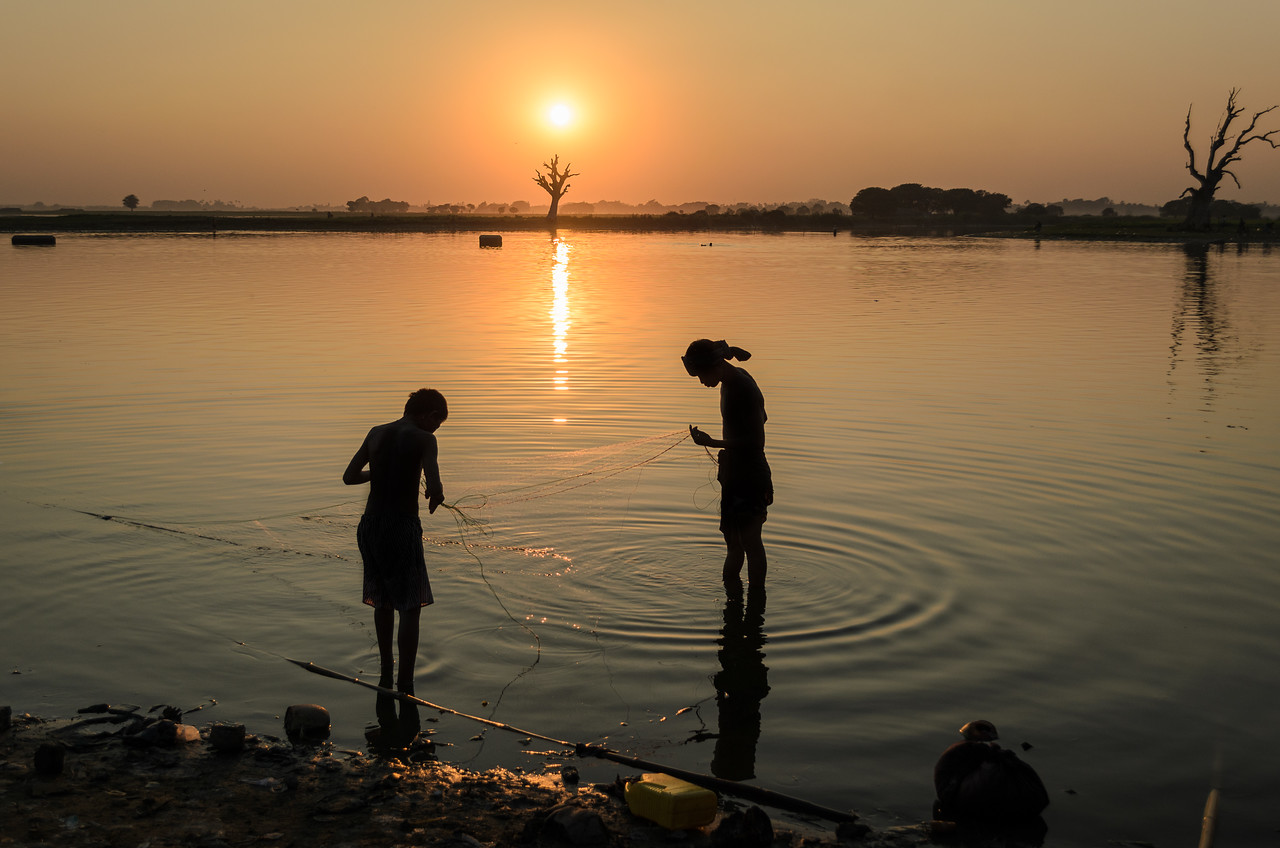 Fisherman at sunset, Amarapura, Burma