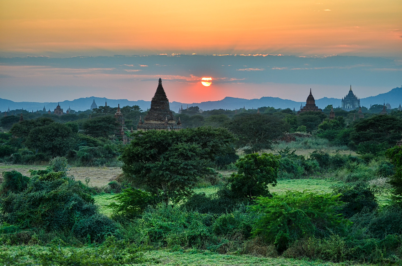Temples at sunset