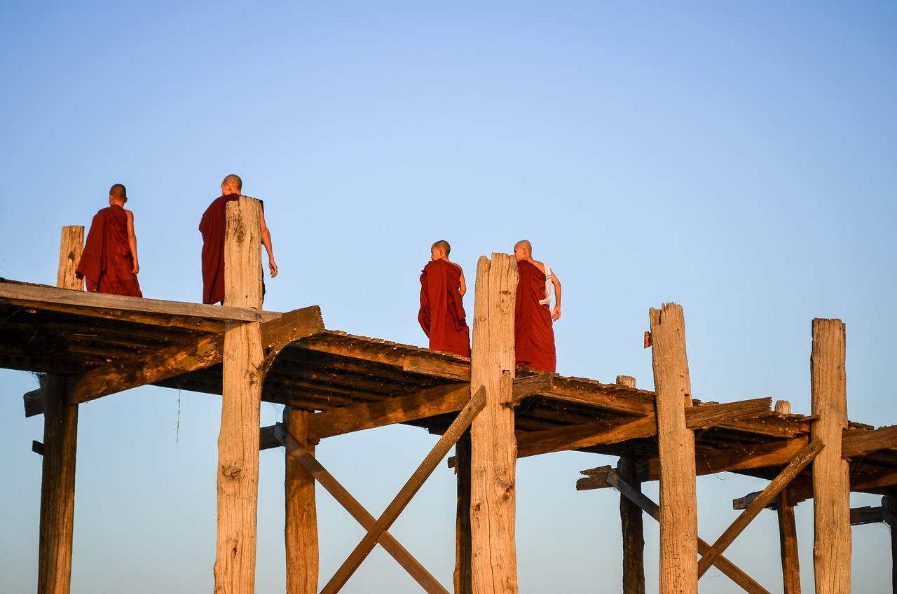 Monks on a bridge, Amarapura, Burma