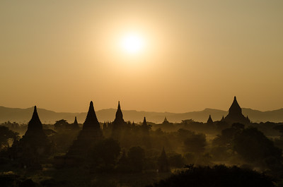 Sunset over temples