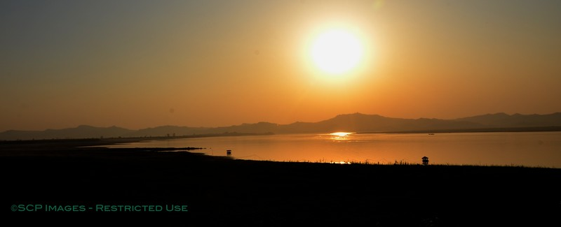 Sunset over the Irrawaddy river, Bagan, Burma