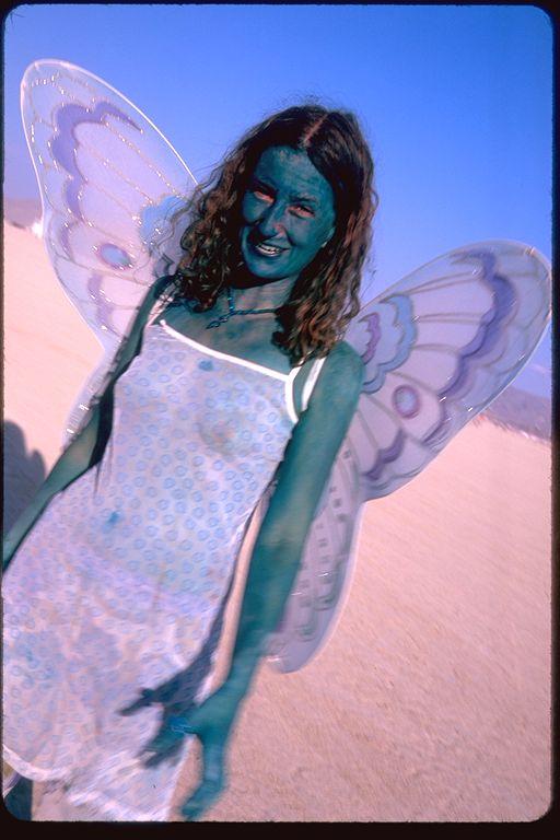 Blue butterfly human