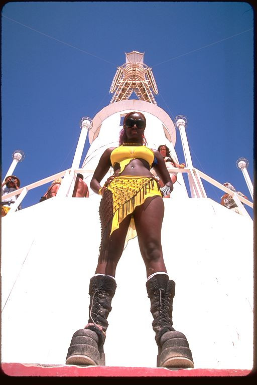 Black woman burning man