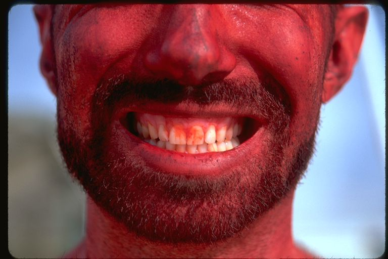 Red human red teeth