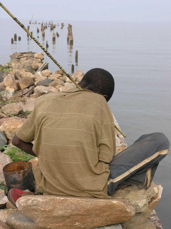 Fishing on Lake Tanganyika - hippoes were about 20 feet away.