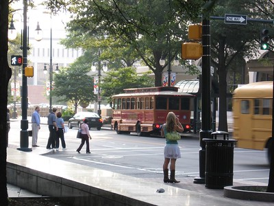 Trolley bus, S. Tryon St and E. 2nd St