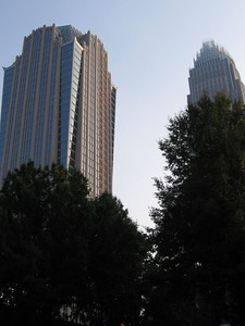 The Hearst Building and the Bank of America Building from N. Tryon St.