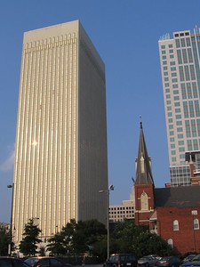 Office towers and St Paul's Church