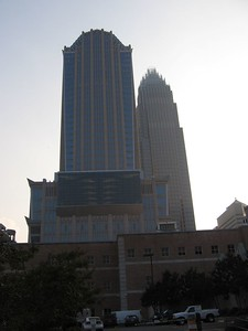The Hearst Building and Bank of America Building from E. 7th St.