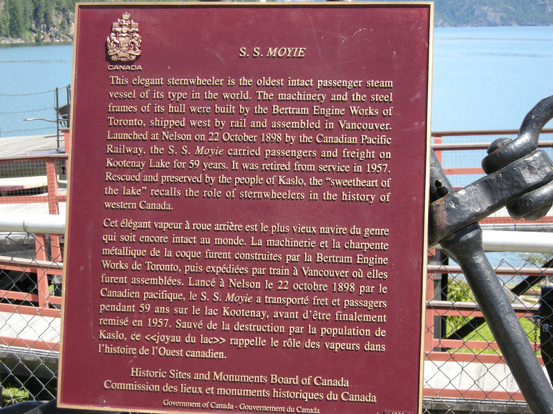 Hats off to the citizens of Kaslo for restoring and preserving the S.S. Moyie! It truly is a time machine.